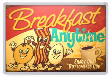 Breakfast Anytime Fridge Magnet. Retro Americana. Diner Sign